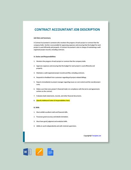 Free Contract Accountant Job Description Template