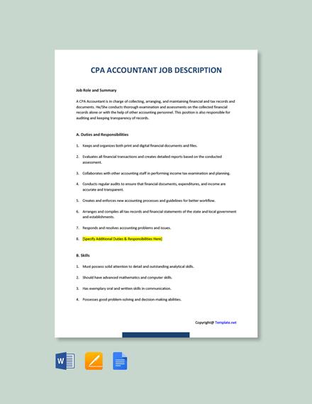 Free CPA Accountant Job Description Template
