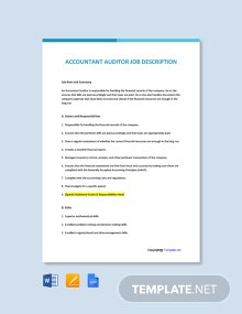 Free Accountant Auditor Job Description Template