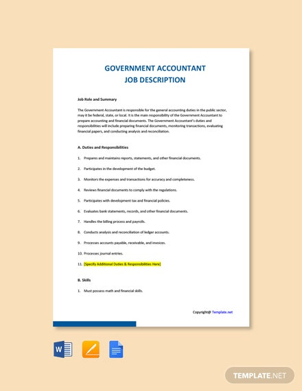 Free Government Accountant Job Description Template
