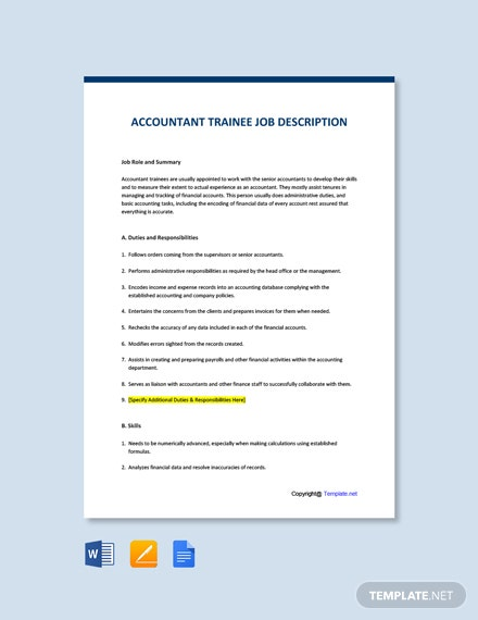 Accountant Trainee Job Description