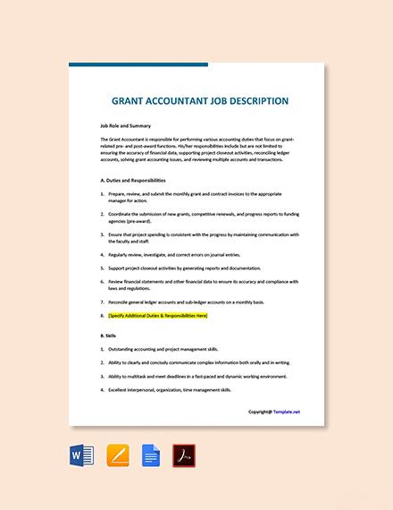 Free Grant Accountant Job Description Template