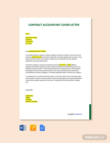 FREE Contract Accountant Cover Letter Template - Word ...