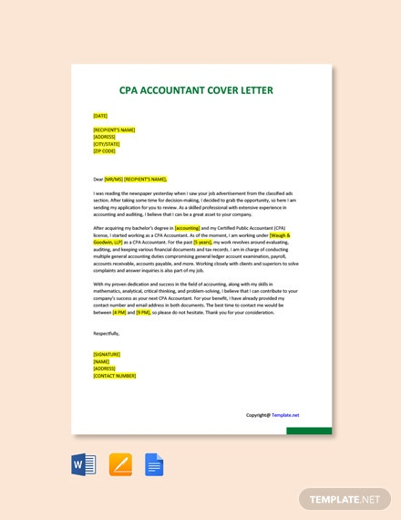 Free CPA Accountant Cover Letter Template