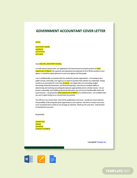 Free Government Accountant Cover Letter Template