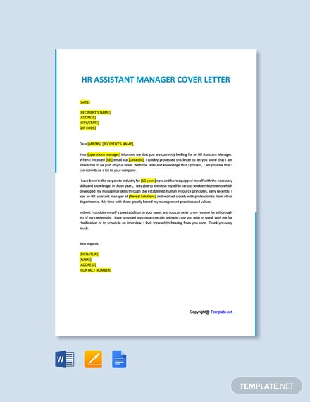 Free HR Assistant Manager Cover letter Template