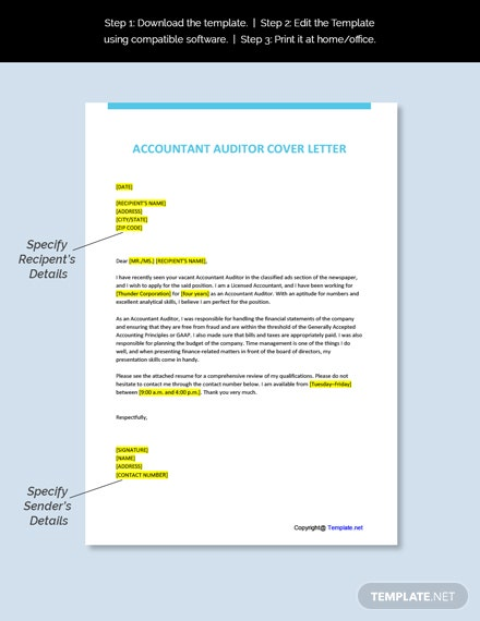 Accountant Auditor Cover Letter Template
