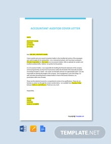 Free Accountant Auditor Cover Letter Template