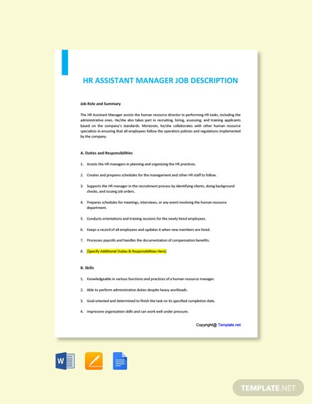 Free HR Assistant Manager Job Description Template