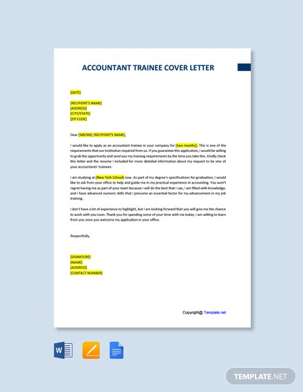 Free Accountant Trainee Cover Letter Template