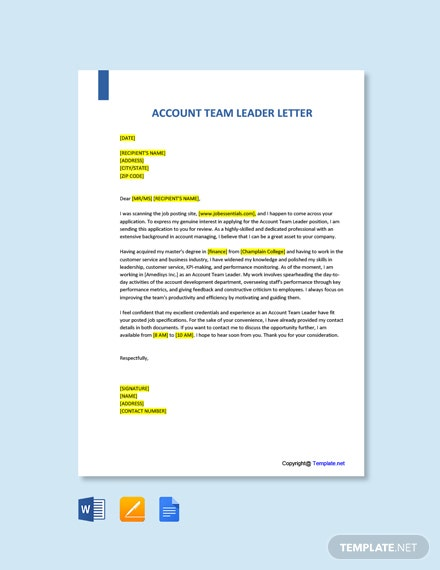 Free Account Team Leader Cover Letter Template
