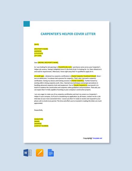 Free Carpenter's Helper Cover Letter Template