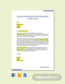 Free Accounts Receivable Staff Accountant Cover Letter Template