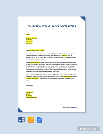 Free Collections Team Leader Cover Letter Template