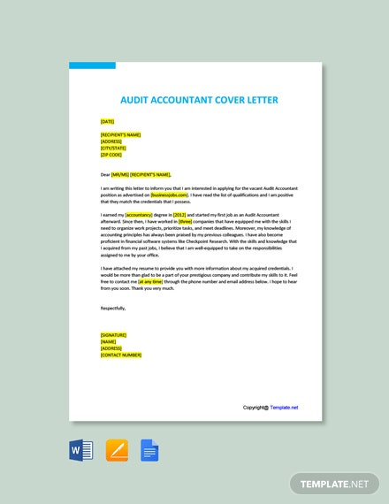 Free Audit Accountant Cover Letter Template