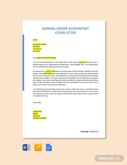 Free General Ledger Accountant Cover Letter Template
