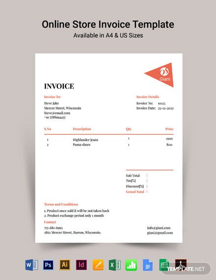 Online Store Invoice Template