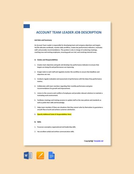 Free Account Team Leader Job Description Template