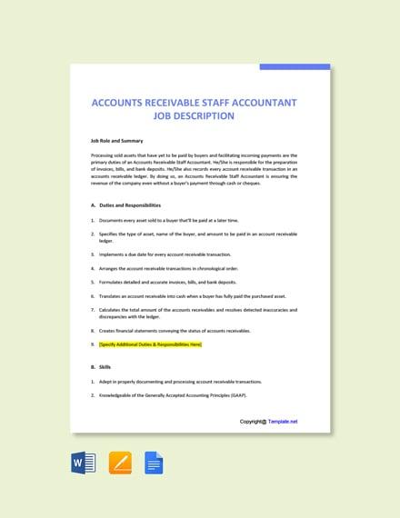 Free Accounts Receivable Staff Accountant Job Description Template