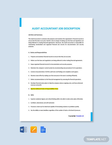 Free Audit Accountant Job Description Template