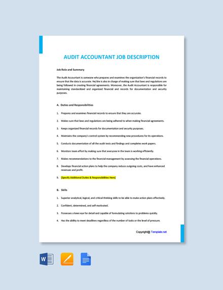 Free Audit Accountant Job Description Template