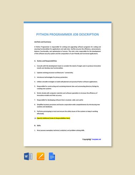 Free Python Programmer Job Description Template