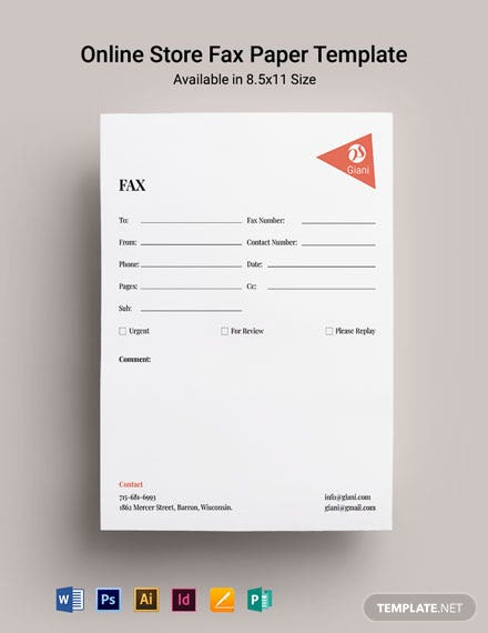 Online Store Fax Paper Template