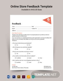 Online Store Feedback Form Template