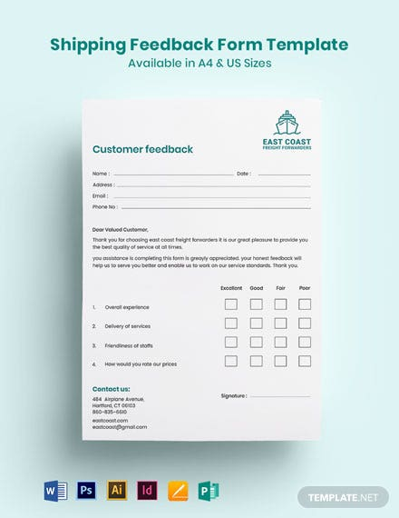Shipping Feedback Form Template