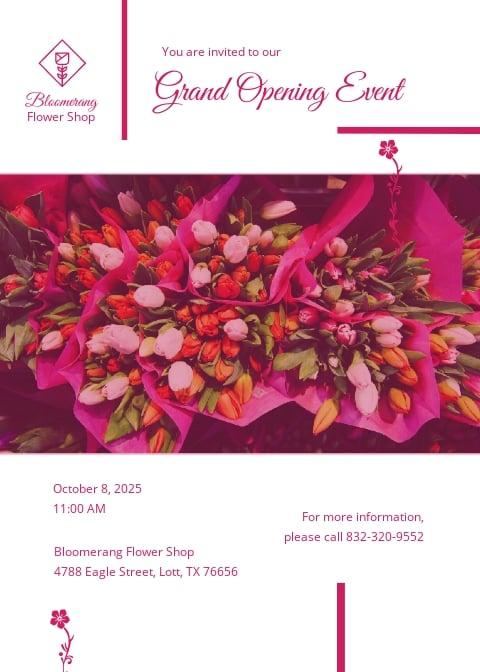 Flower Shop Invitation Template