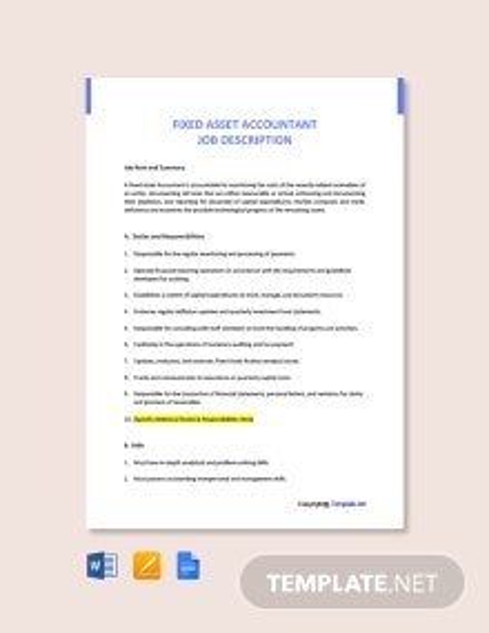 Free Fixed Asset Accountant Job Description Template