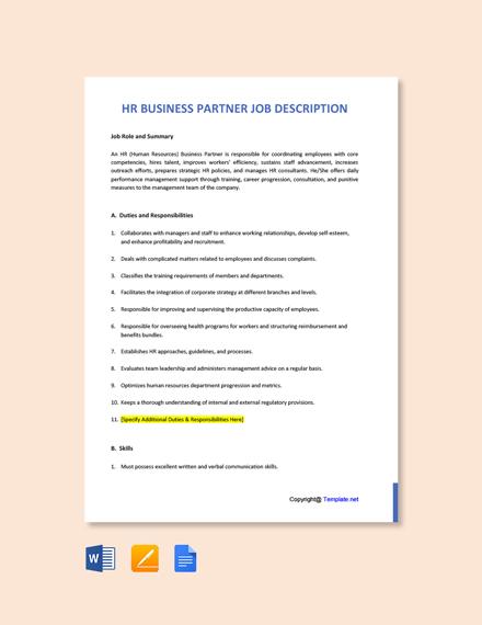 Free HR Business Partner Job Description Template