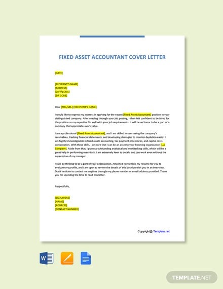 Free Fixed Asset Accountant Cover Letter Template