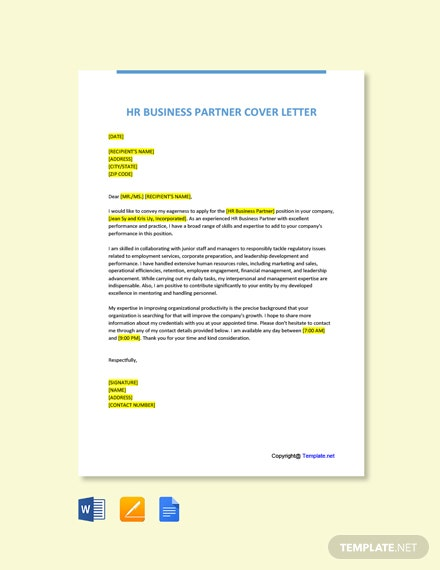 Free HR Business Partner Cover Letter Template