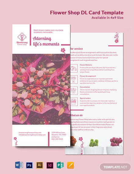 Flower Shop DL Card Template
