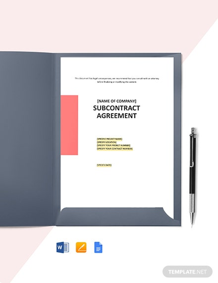 Subcontractor Agreement Format Template