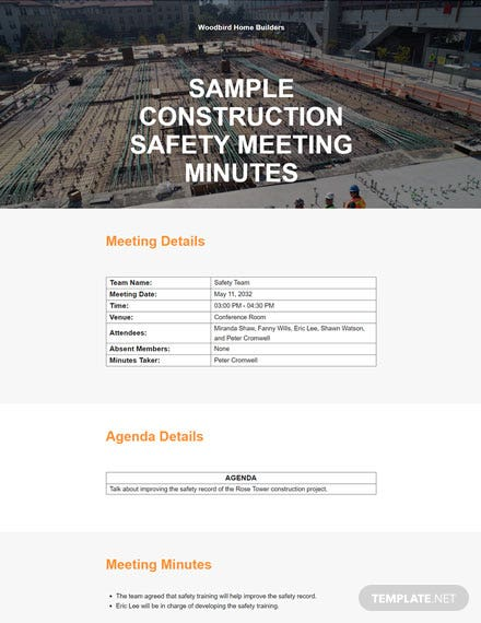 Sample Construction Safety Meeting Minutes Template