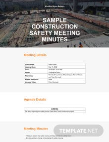 Free Sample Construction Safety Meeting Minutes Template