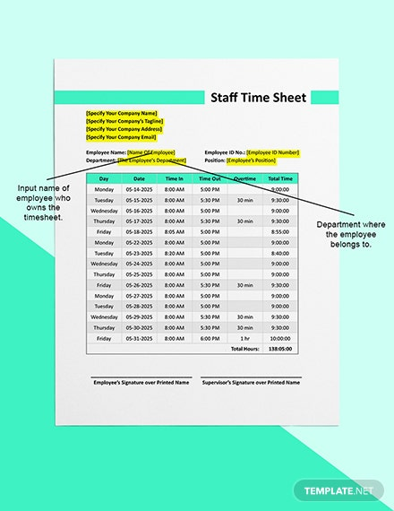 Construction Staff Time Sheet Template [Free Google Docs] - Google Sheets, Excel, Word, Apple Numbers, Apple Pages