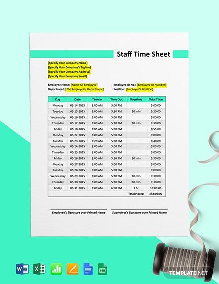 Construction Staff Time Sheet Template