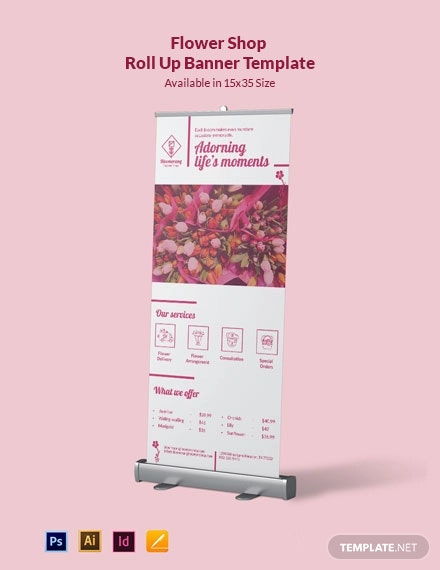 Flower Shop Roll Up Banner Template