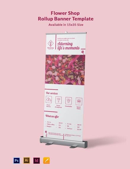 Flower Shop Rollup Banner Template