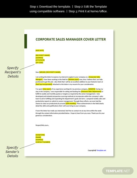 Corporate Sales Manager Cover Letter Template