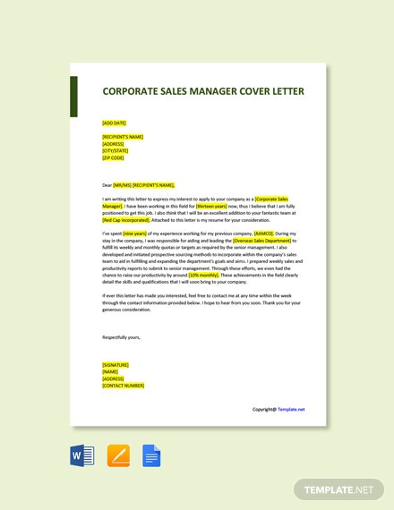 Free Corporate Sales Manager Cover Letter Template