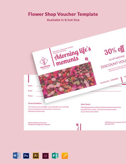 Flower Shop Voucher Template