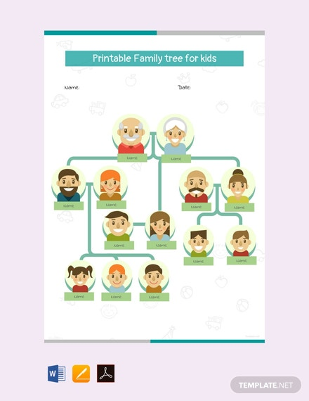 Free Printable Family Tree for Kid's Template