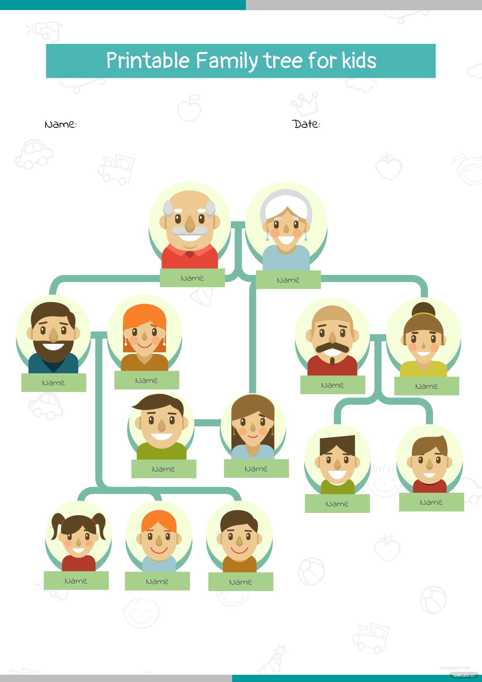 printable family tree for kids template in microsoft word