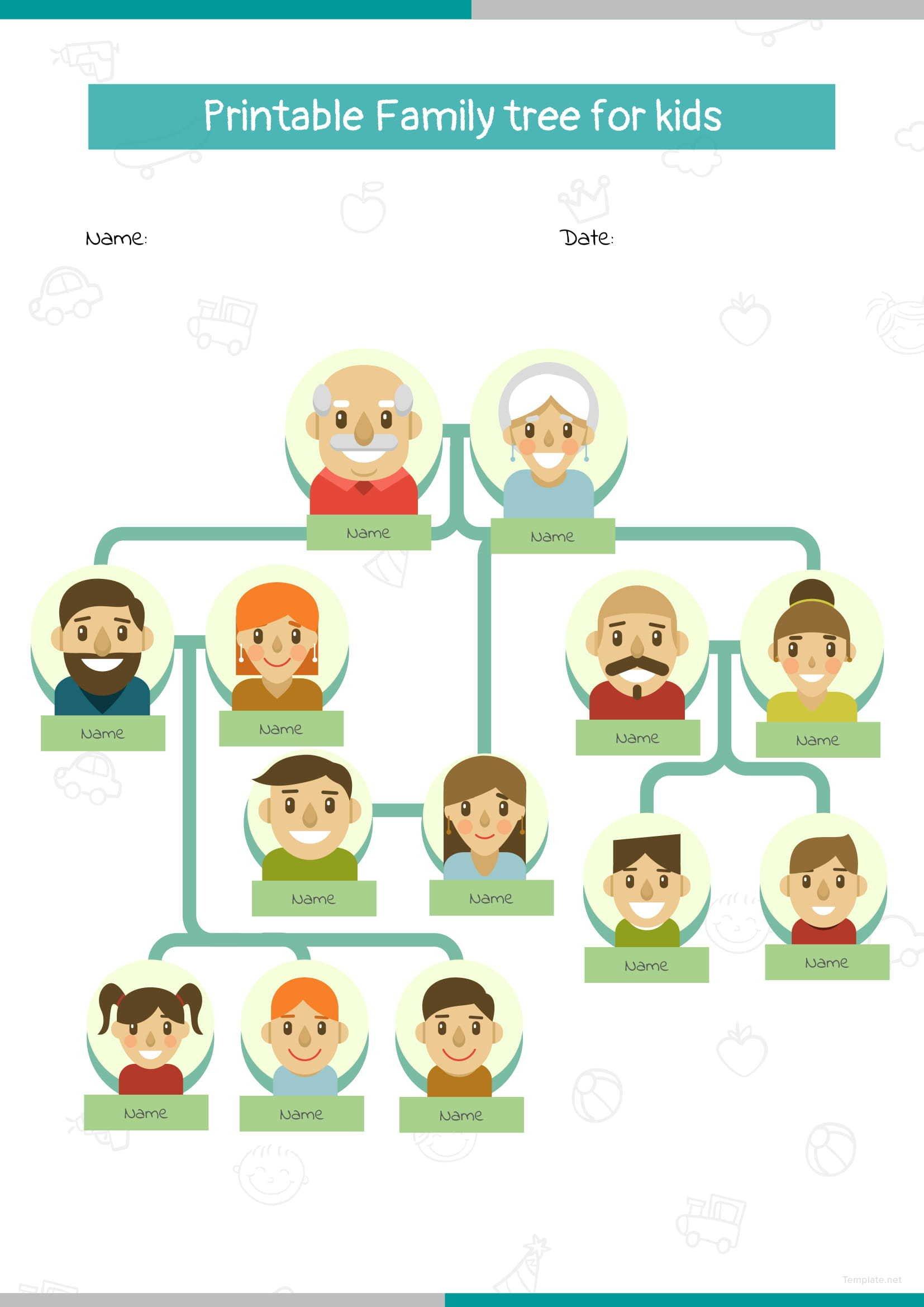 Printable Family Tree For Kids on Blank Diagram Family Tree Chart