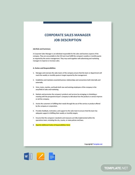 Free Corporate Sales Manager Job Description Template