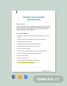 Free National Sales Manager Job Description Template